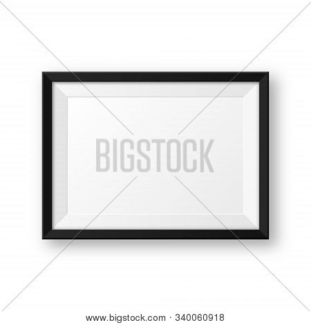 Realistic Blank Black Picture Frame With Shadow Isolated On White Background. Modern Poster Mockup.
