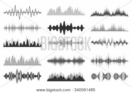 Sound Waves Collection. Analog And Digital Audio Signal. Music Equalizer. Interference Voice Recordi