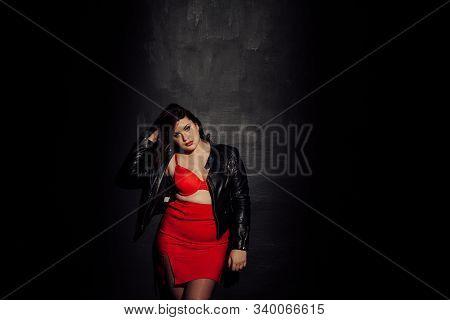 Fat Woman In Red Underwear In Black Room