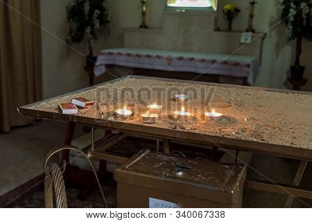 Jerusalem, Israel, December 07, 2019 : The Place For Lighting Candles In The Interior Of The Our Lad