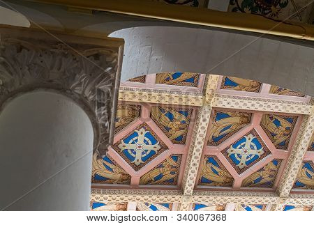 Jerusalem, Israel, December 07, 2019 : Fragment Of The Ceiling Of The Our Lady Of The Ark Of The Cov