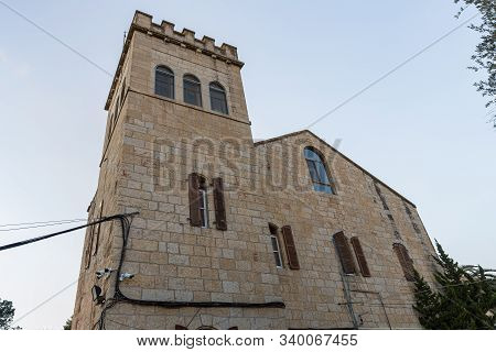 Jerusalem, Israel, December 07, 2019 : Monastery Building Near The Our Lady Of The Ark Of The Covena