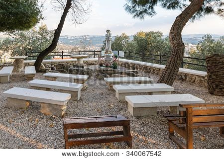 Jerusalem, Israel, December 07, 2019 : A Place For Prayers In The Garden Of The Our Lady Of The Ark