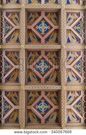 Jerusalem, Israel, December 07, 2019 : Decorative Ceiling In The Our Lady Of The Ark Of The Covenant