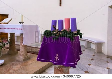 Jerusalem, Israel, December 07, 2019 : Stand With Decorative Candles In Interior Of The Our Lady Of