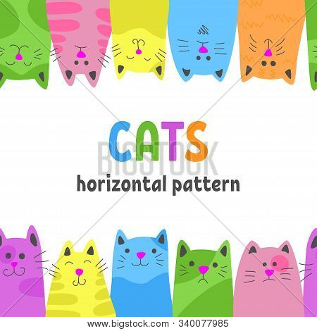 Happy Cats. Horizontal Seamless Pattern In Cartoon Style. Vector Illustration