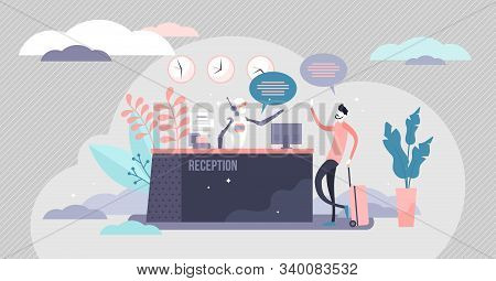 Reception Robot Automation Process, Flat Tiny Person Vector Illustration. Modern Hospitality Tourism