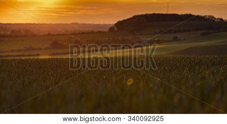Lincolnshire Wolds, East Midlands, Uk, May 2019, View Of The Lincolnshire Countryside Near Belchford