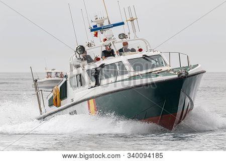 Torre Del Mar, Malaga, Spain-jul 12: Guardia Civil Coast Guard Patrol Taking Part In A Exhibition On