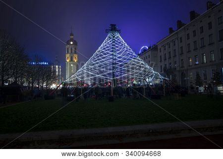 Lyon, France, Europe, 6th December 2019, View Of The Fetes Des Lumiers Aka Festival Of Light  And Th
