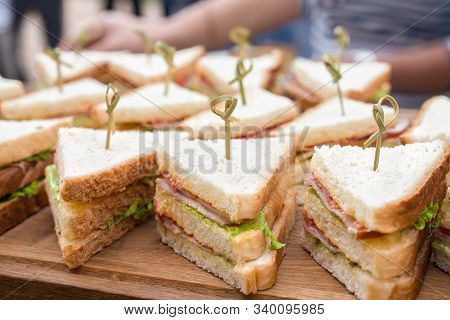 Kosher Catering Background. Food Catering. Slider Bar Background. Vegan Sliders, Ham And Vegetable S