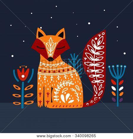 Cute Orange Folk Art Fox On Blue Background.