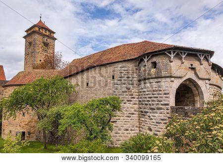 Spital bastion moat, a part  of Old Town fortification, Rothenburg ob der Tauber, Bavaria, Germany, Europe