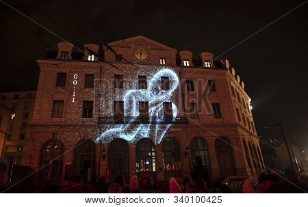 Lyon, France, Europe, 6th December 2019, View Of The Fetes Des Lumieres Aka Festival Of Light And Da