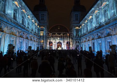 Lyon, France, Europe, 6th December 2019, View Of The Fetes Des Lumieres Aka Festival Of Light Theatr