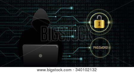 Hacker Cracks Secure Digital Data Password Binary Code Background Vector Illustration Eps10