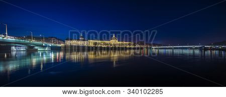 Lyon, France, Europe, 6th December 2019, View Of The River Rhone And City Of Lyon At Twilight