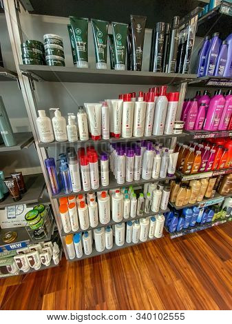 Orlando,fl/usa-12/13/19: Shelves Of Paul Mitchell Hair Shampoo, Conditioner And Styling Products At