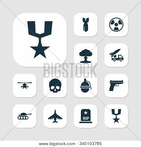 Combat Icons Set With Bio Hazard, Fighter, Medal And Other Weapons Elements. Isolated Illustration C