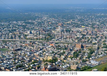 Elizabeth Skyline Aerial View Including Superior Court Of New Jersey And First Presbyterian Church,