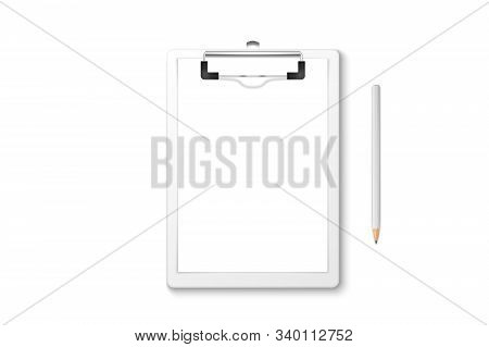 Vector 3d Realistic White Clipboard With Blank Paper, Metal Clip, Wood Pencil Set Closeup Isolated O