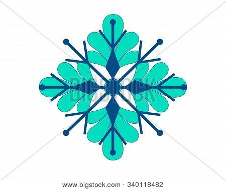 Snowflake. Bicolor Snowflake Vector Illustration - Of Classic Blue And Biscay Green Colors