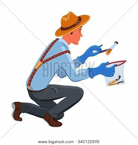 A Classic Detective In A Brown Hat Collects Evidence Into A Bag. Vector Colorful Illustration In Car