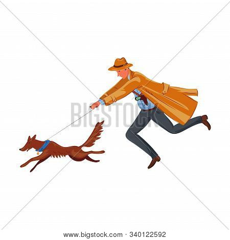 A Detective Running With A Tracker Dog Hunting Footprints. Vector Colorful Illustration In Cartoon S