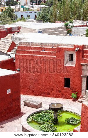 Fountain In Monastery Saint Catalina, Arequipa, Peru, View From Above, Vertical