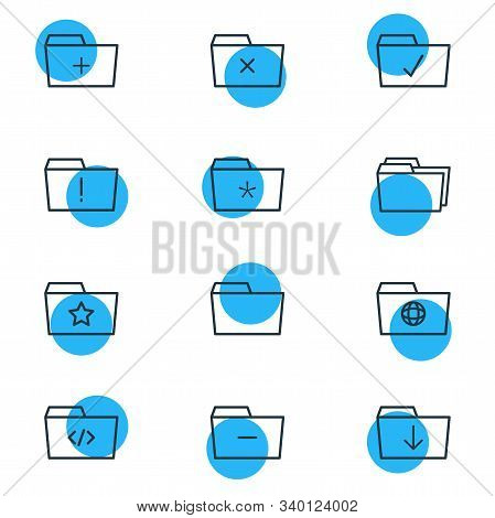 Vector Illustration Of 12 Document Icons Line Style. Editable Set Of Significant, Important, Starred