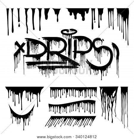 Drips Vector Design Pack. Dripping Lettering Set. Dibbles Illustration Isolated On White.