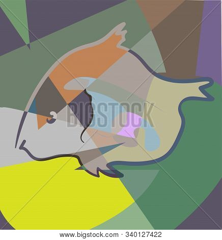 Fish In Cubism Style. Pastel Colors. Vector