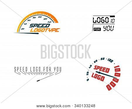 Automative Logo Set, Speed Car, Hud Design Element. Hight Up Display. Vector Speedometer Logos Set.