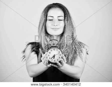 Few Minutes. Time Management. Punctuality And Discipline. Pretty Girl Managing Her Time. Woman Hold