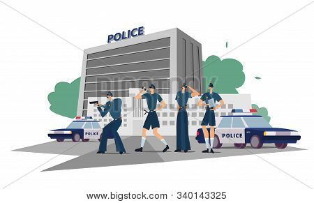 Police Department With Officers In Uniform, Cars And City Landscape. Policemen Work At The Departmen