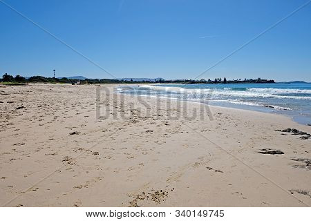 One Of The Beautiful Empty Endless Beaches Of Wollongong Region, Australia