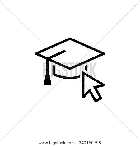 Vector Icon Of A Mortarboard For Internet And Online Education, E-learning Resources, Distant Online