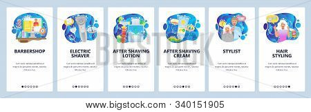 Mobile App Onboarding Screens. Electric Razor, Hair Beauty Salon, Barbershop, Lotion, Cream, Stylist