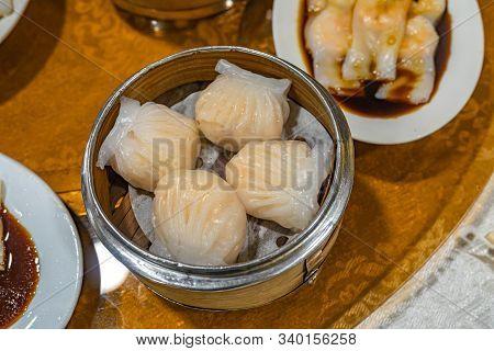 Hong Kong Dimsum Dish- Steamed Stuffed Shrimp Crystal Dumpling