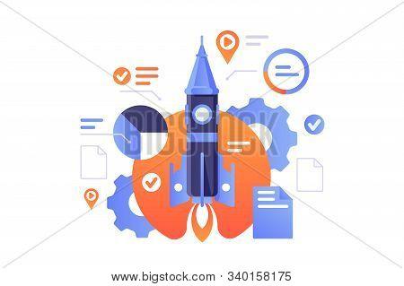 Business Start Up Illustration. Successful Rocket Launch Of New Biz Project. Documents, Diagram, Set