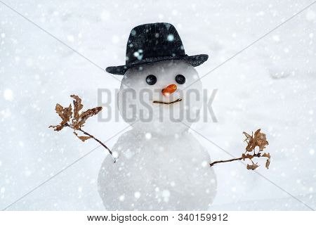 Merry Christmas And Happy Holidays. Winter Scene With Snowman On White Snow Background. Happy Winter