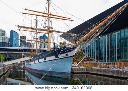 Melbourne, Australia - December 14, 2019: Polly Woodside Vintage Three-masted Barque Sailing Ship Do