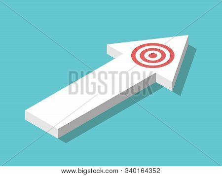 Isometric Arrow Shape With Target On It On Turquoise Blue. Focus, Concentration, Determination, Prog