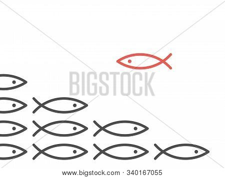 Unique Red Fish Against Shoal Of Many Black. Opposition, Conflict, Contradiction, Courage, Society A