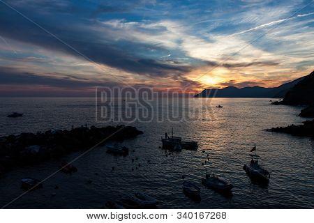 Dramatic Sunset By Italian Coastline In Cinque Terre