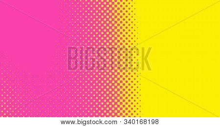 Pink Halftone Pop Art Background Abstract Vector Comics Style Blank Layout Template With Clouds Beam