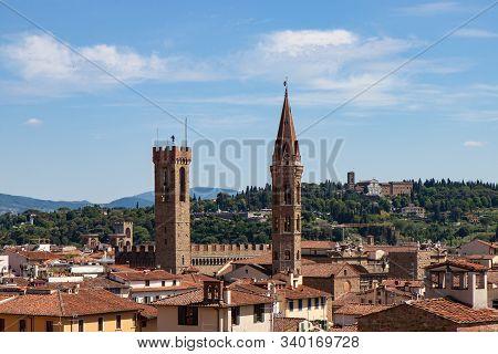 The Bargello Palazzo Del Bargello And The Badia Fiorentina In Florence