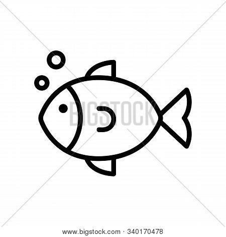 Sea Fish Icon Vector. A Thin Line Sign. Isolated Contour Symbol Illustration