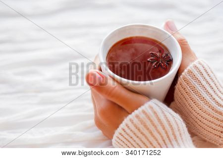 Young Women Hands Holding The Coffee Cup With White Background