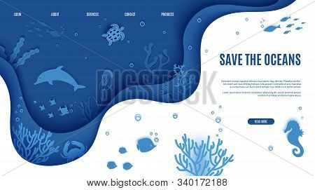 Web Page Design Template In Paper Cut Style Underwater Ocean Underwater View Through Cave Porthole.